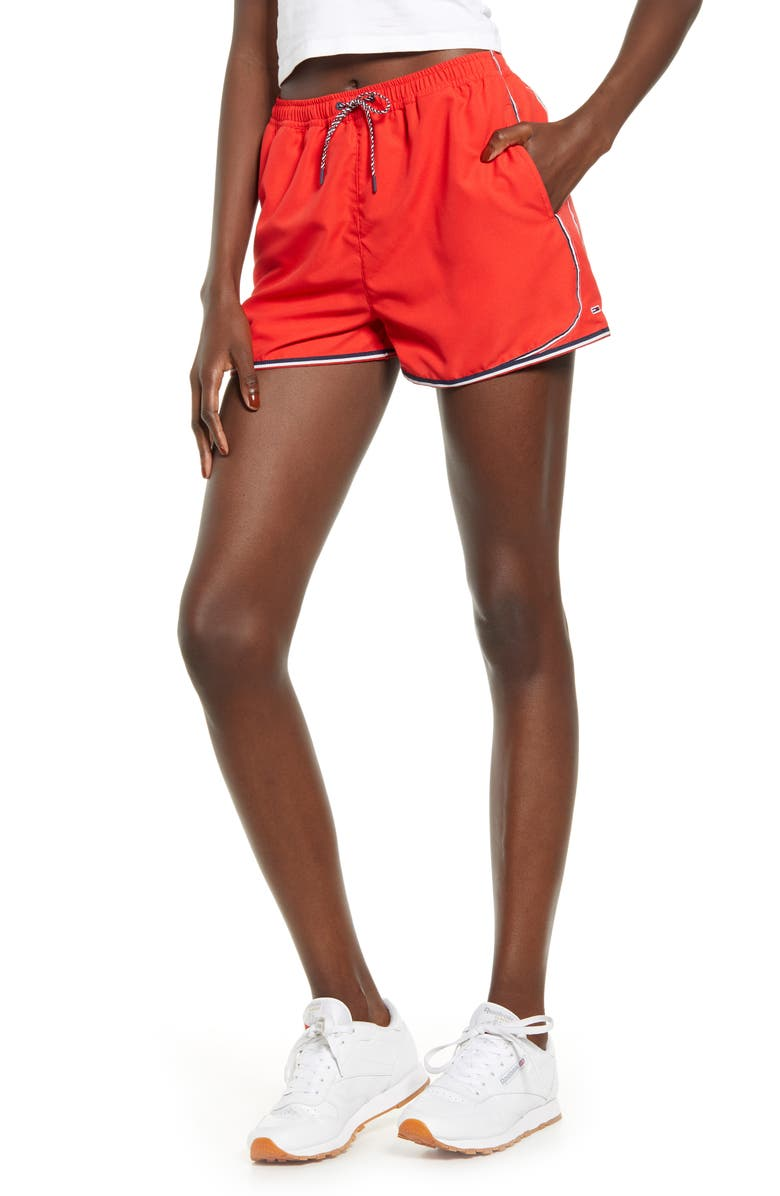 TOMMY JEANS Piped Shorts, Main, color, FLAME SCARLET