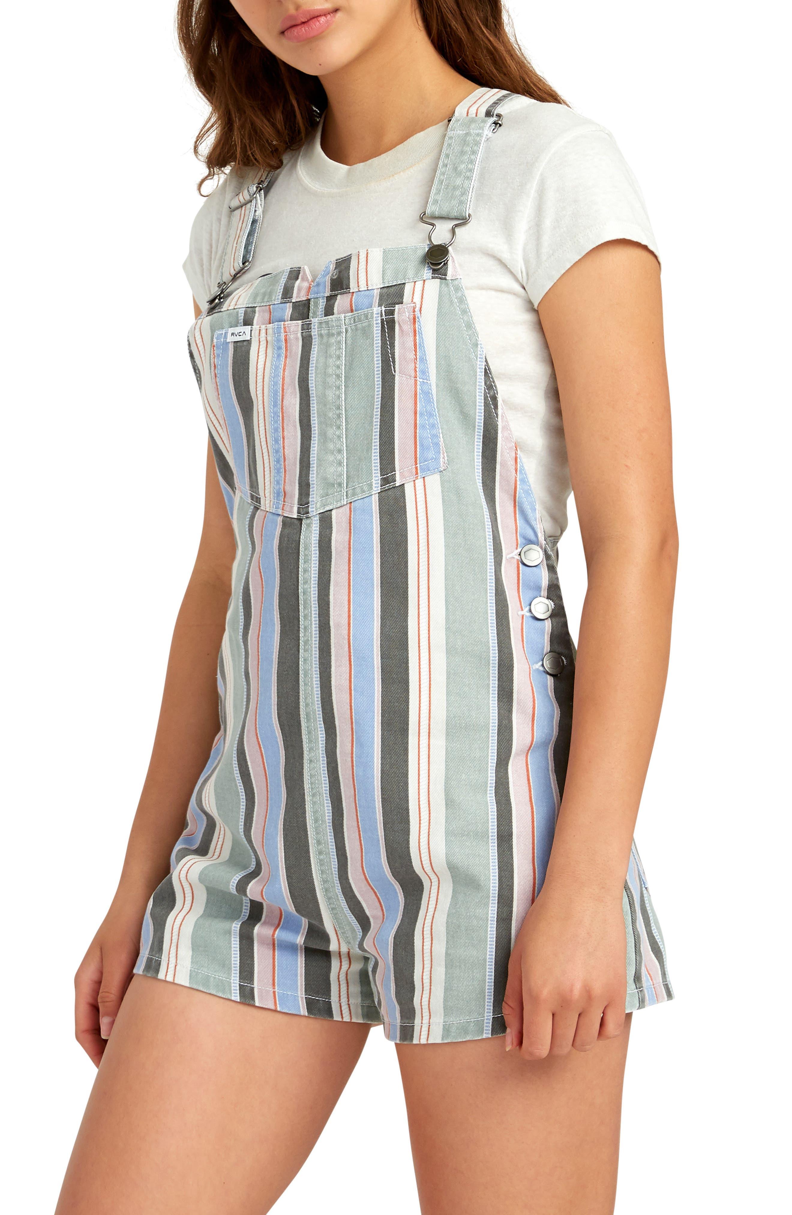 ,                             Townhouse Stripe Denim Shortalls,                             Alternate thumbnail 3, color,                             MULTI