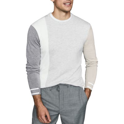 Reiss Simmy Regular Fit Crewneck Colorblock Sweater, Grey