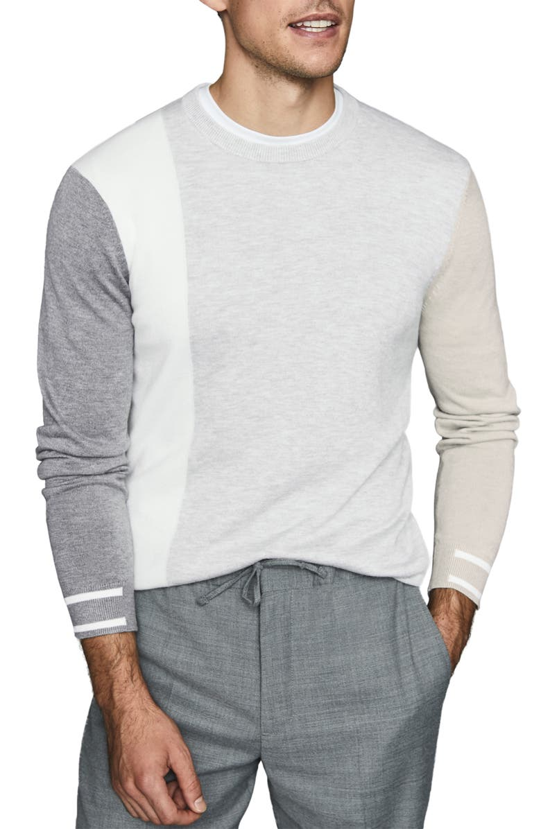 REISS Simmy Regular Fit Crewneck Colorblock Sweater, Main, color, SOFT GREY
