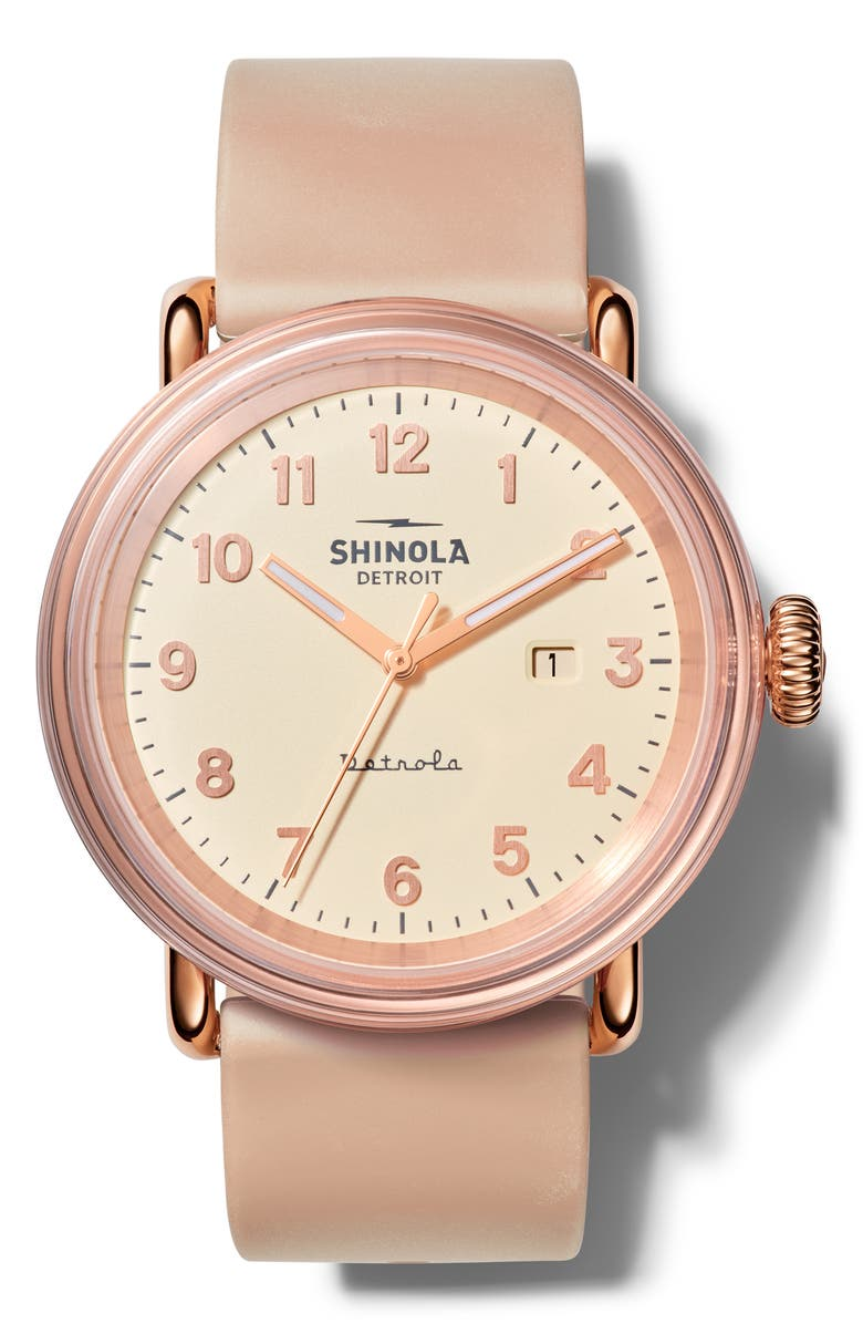 SHINOLA Detrola Silicone Strap Watch, 43mm, Main, color, BLUSH/ CREAM/ ROSE GOLD