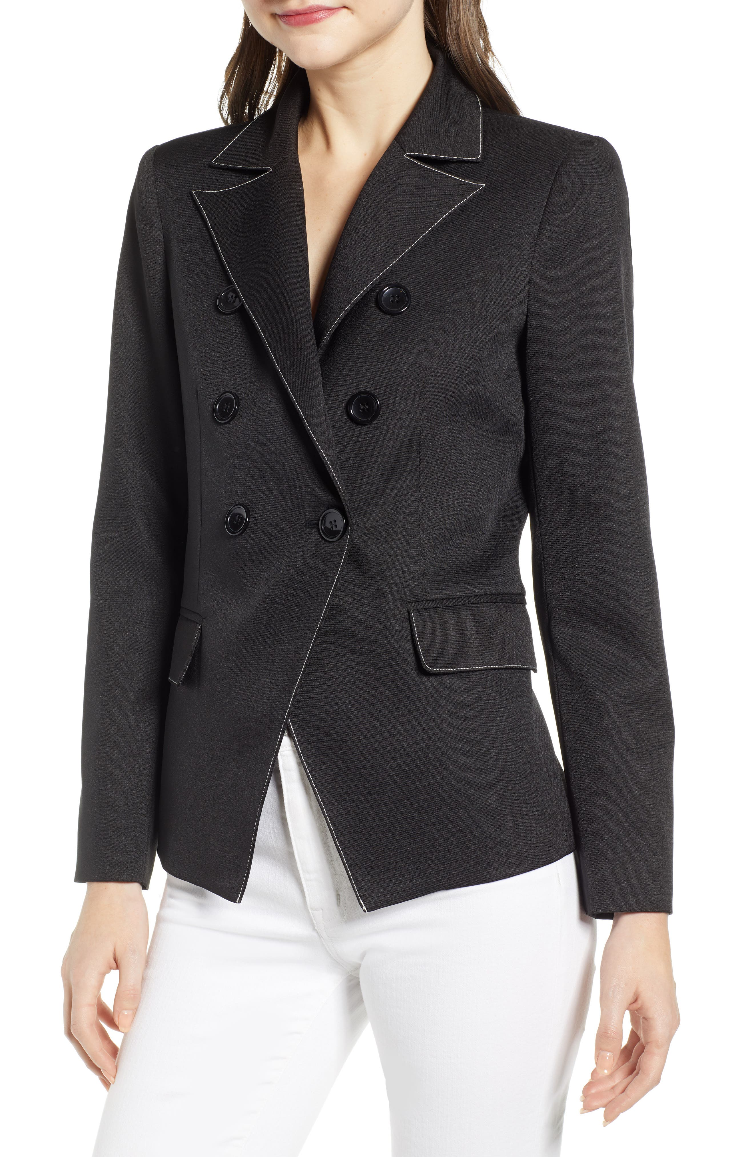,                             Contrast Stitch Double Breasted Blazer,                             Main thumbnail 1, color,                             BLACK