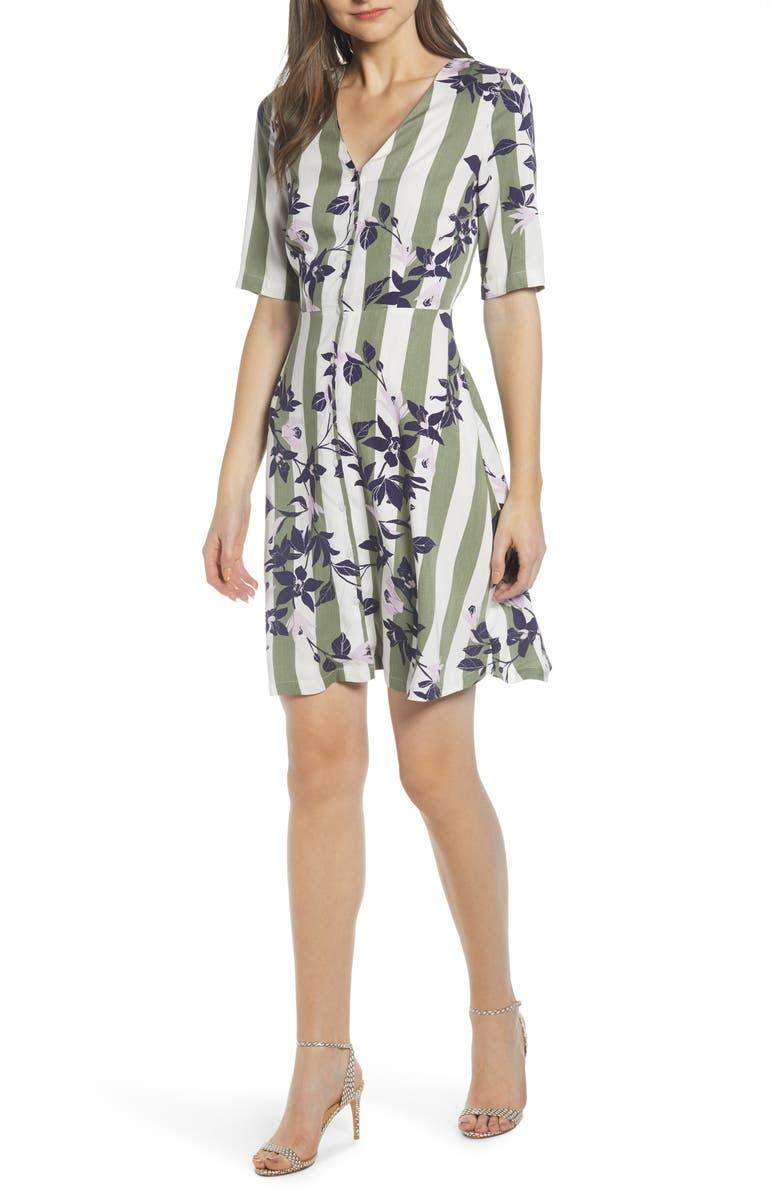 VERO MODA Vilja Pattern Mix Shirtdress, Main, color, 300