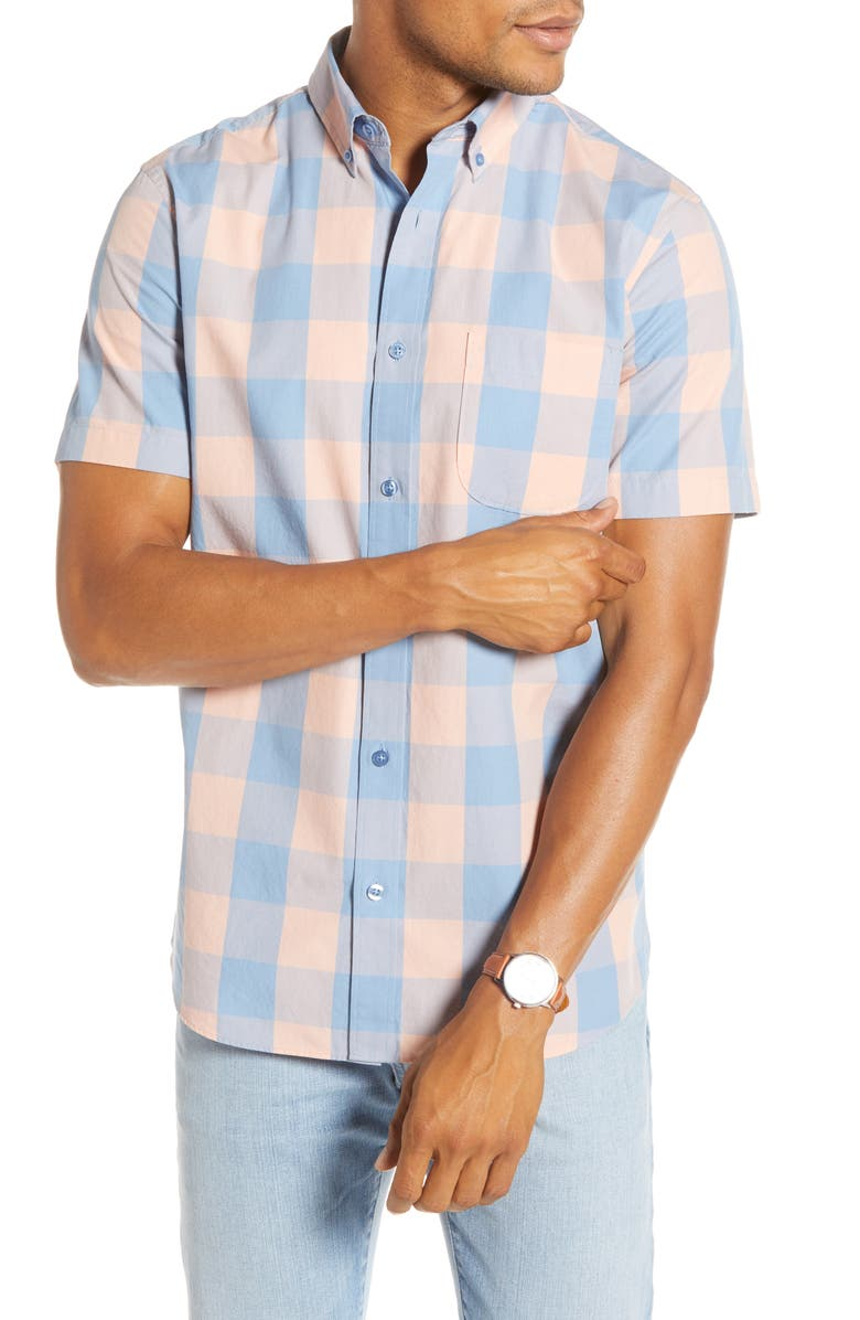 1901 Trim Fit Plaid Short Sleeve Button-Down Shirt, Main, color, 660