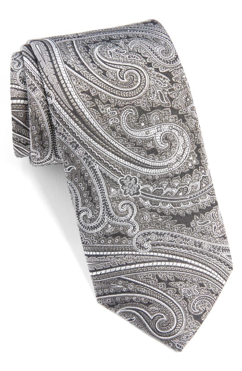 ETON Paisley Silk Tie, Main, color, BROWN