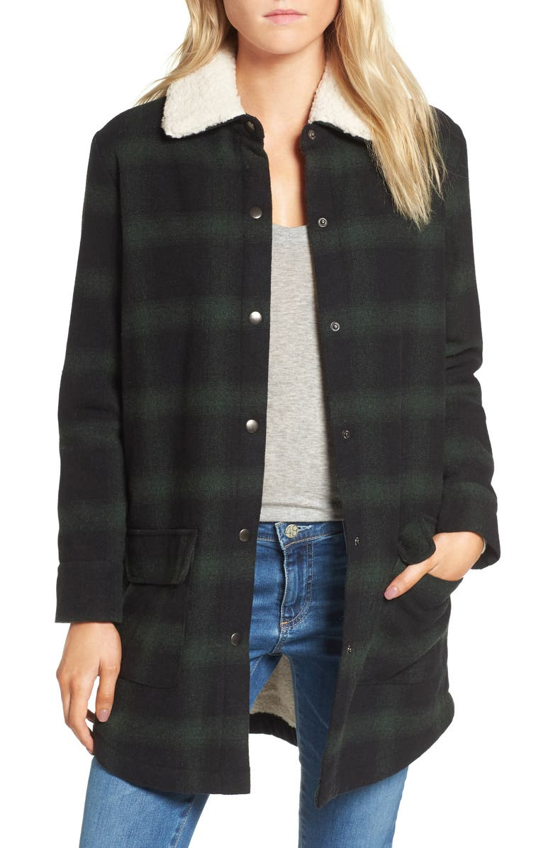 BB DAKOTA Bradley Fleece Lined Plaid Coat, Main, color, 301
