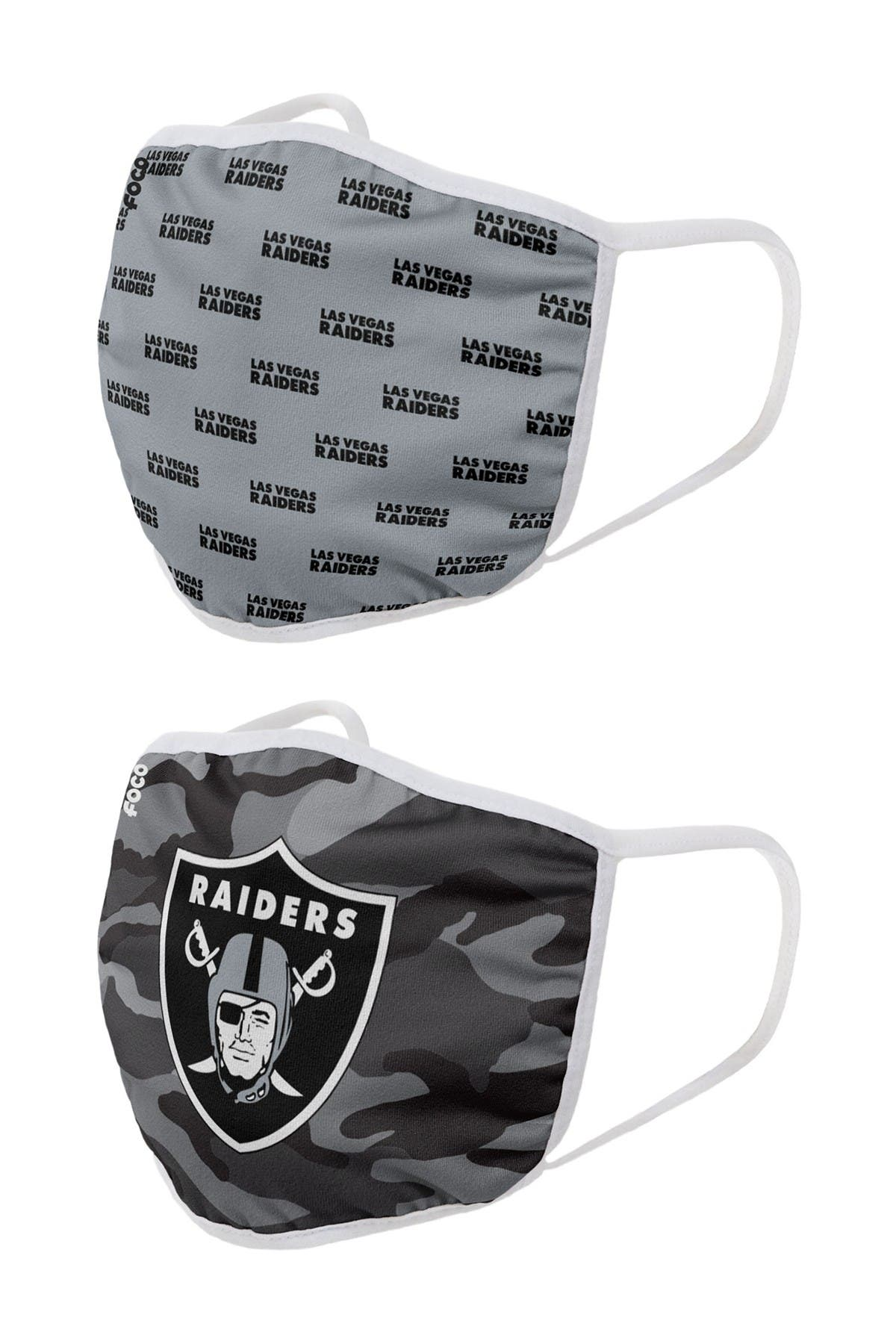 Image of FOCO NFL Vegas Raiders Clutch Printed Face Cover - Pack of 2