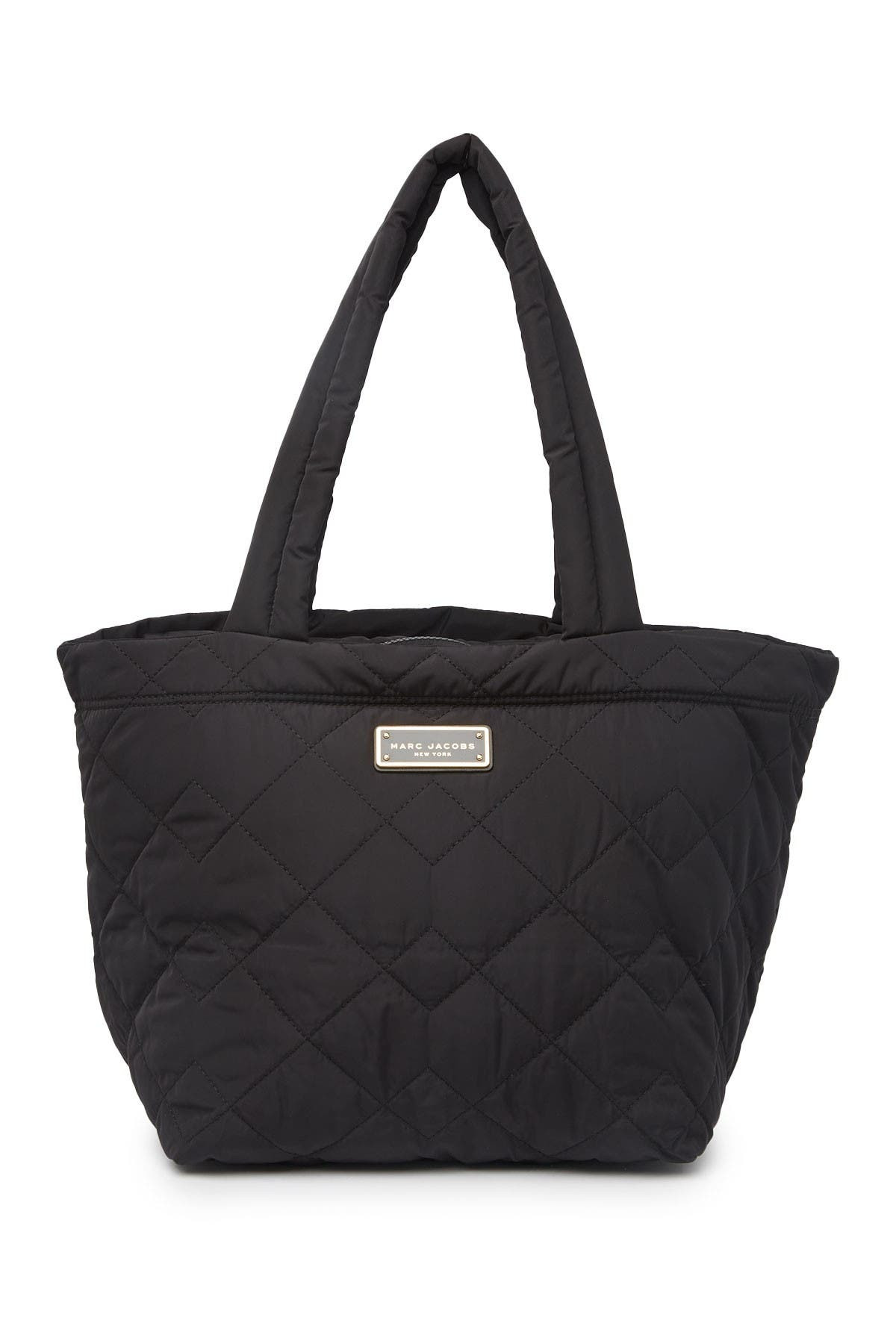 Quilted Nylon Medium Tote Bag In Black