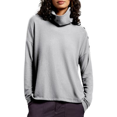 Michael Stars Lacy Madison Brushed Jersey Button Detail Long Sleeve Top, Grey