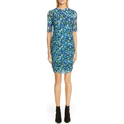 Ganni Floral Print Mesh Body-Con Dress, US / 4 - Blue