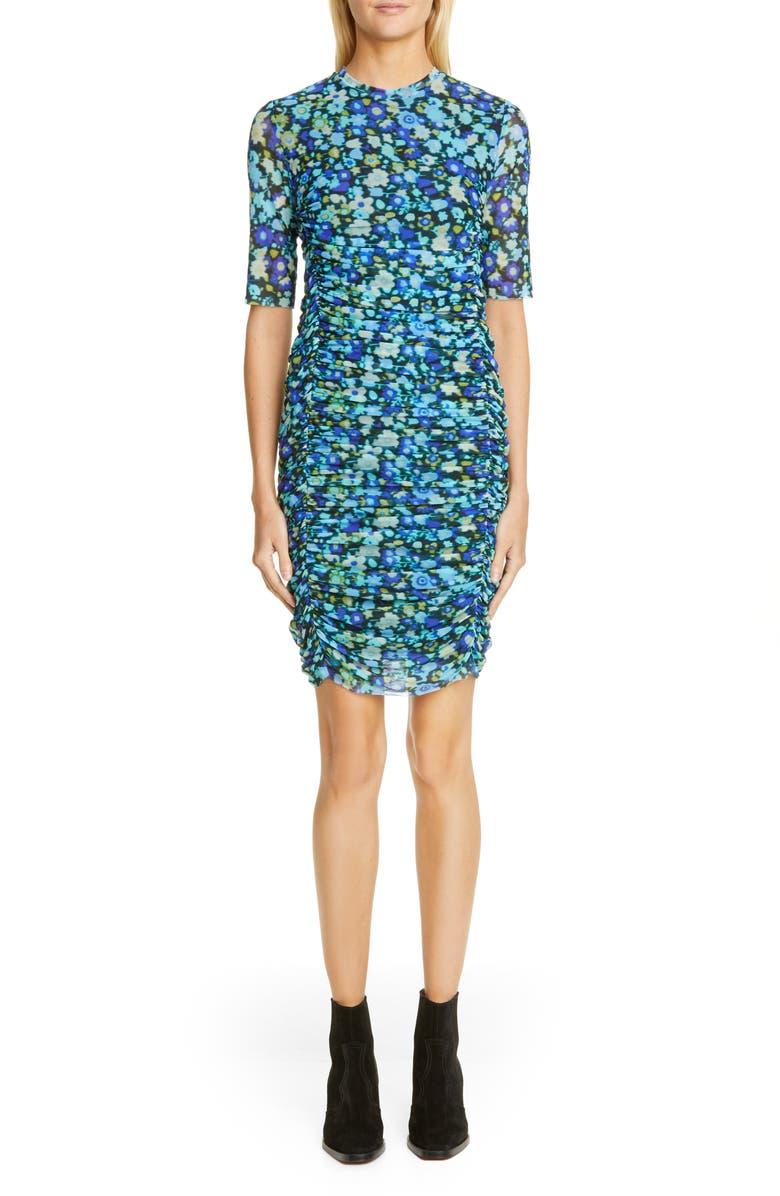 GANNI Floral Print Mesh Body-Con Dress, Main, color, AZURE BLUE