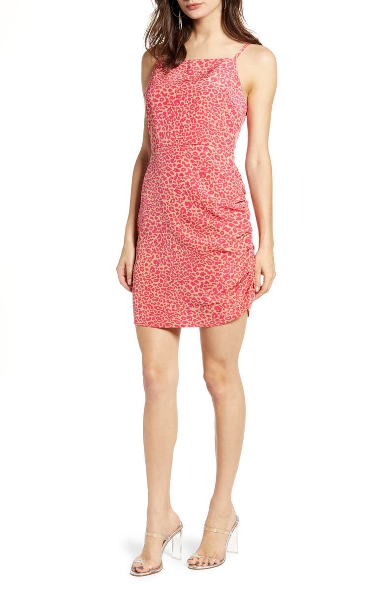 J.O.A. Ruched Minidress, Main, color, PINK LEOPARD