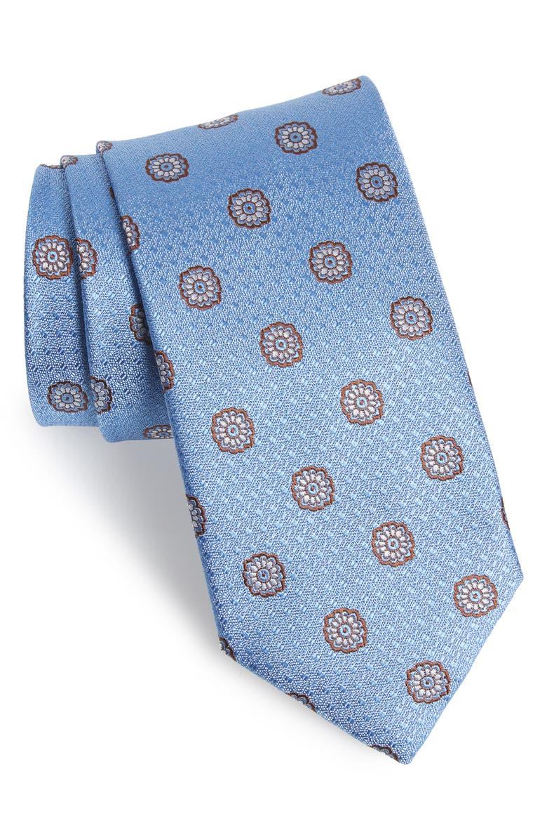 CANALI Medallion Silk Tie, Main, color, 450