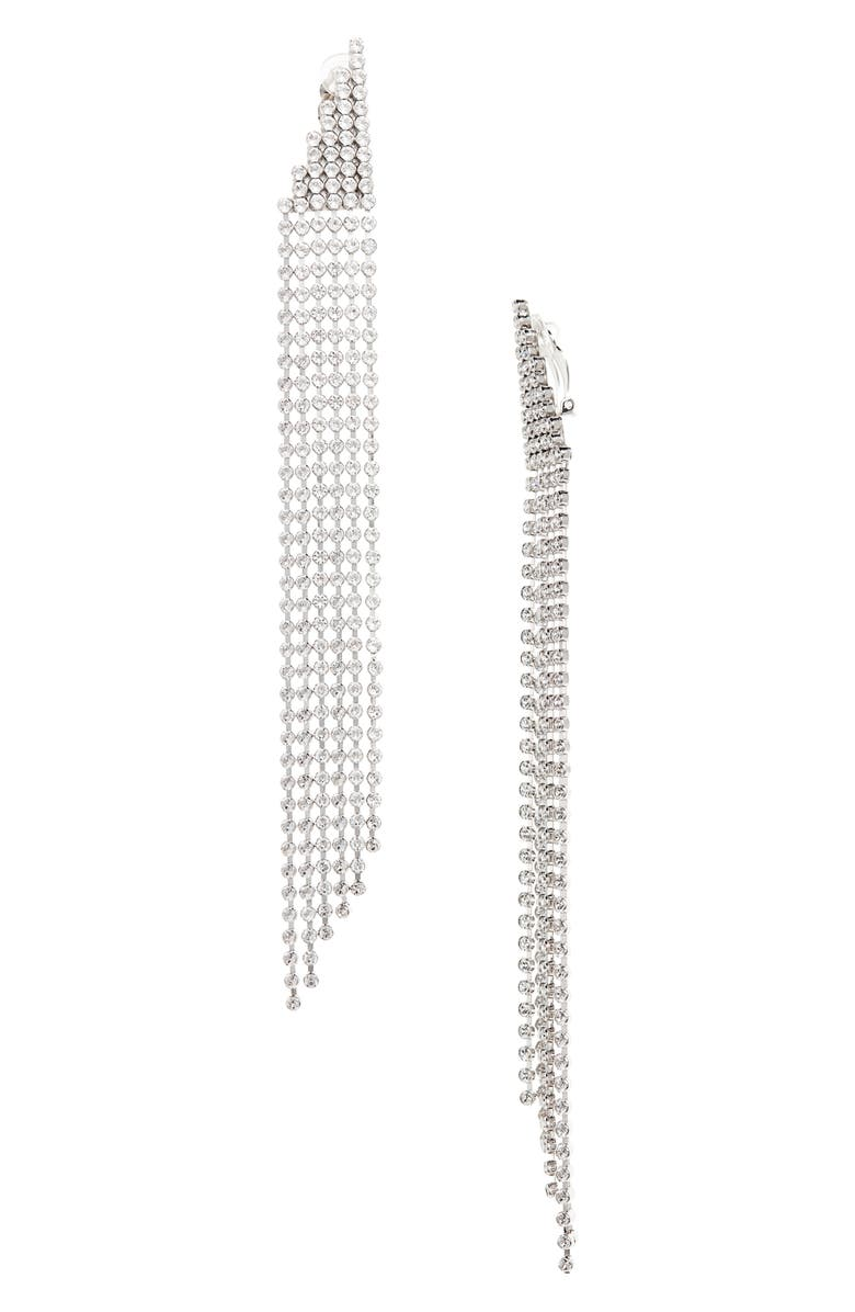 SAINT LAURENT Crystal Clip Drop Earrings, Main, color, SILVER