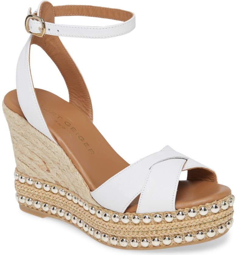 KURT GEIGER LONDON Amelia Ankle Strap Wedge, Main, color, WHITE LEATHER