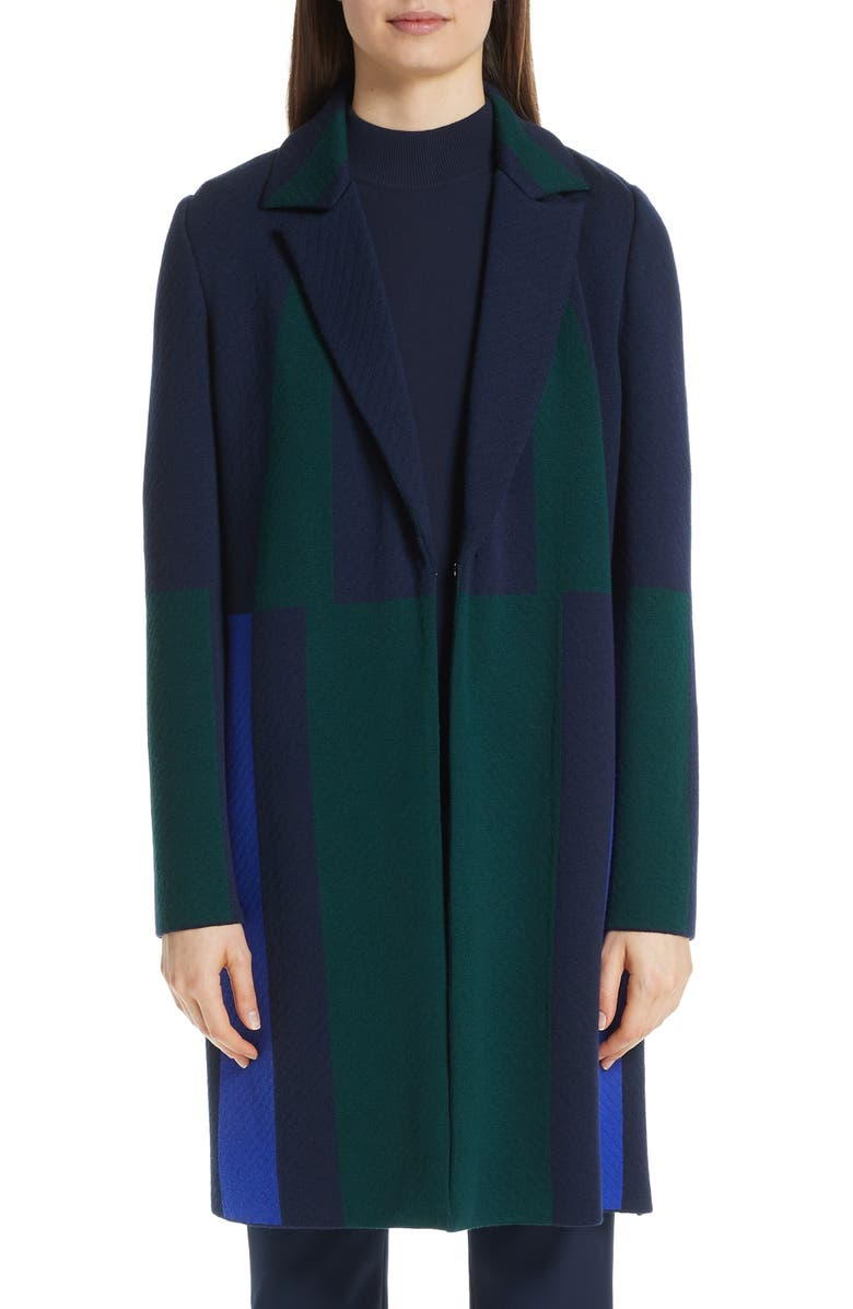ST. JOHN COLLECTION Colorblock Intarsia Wool Twill Jacket, Main, color, 410