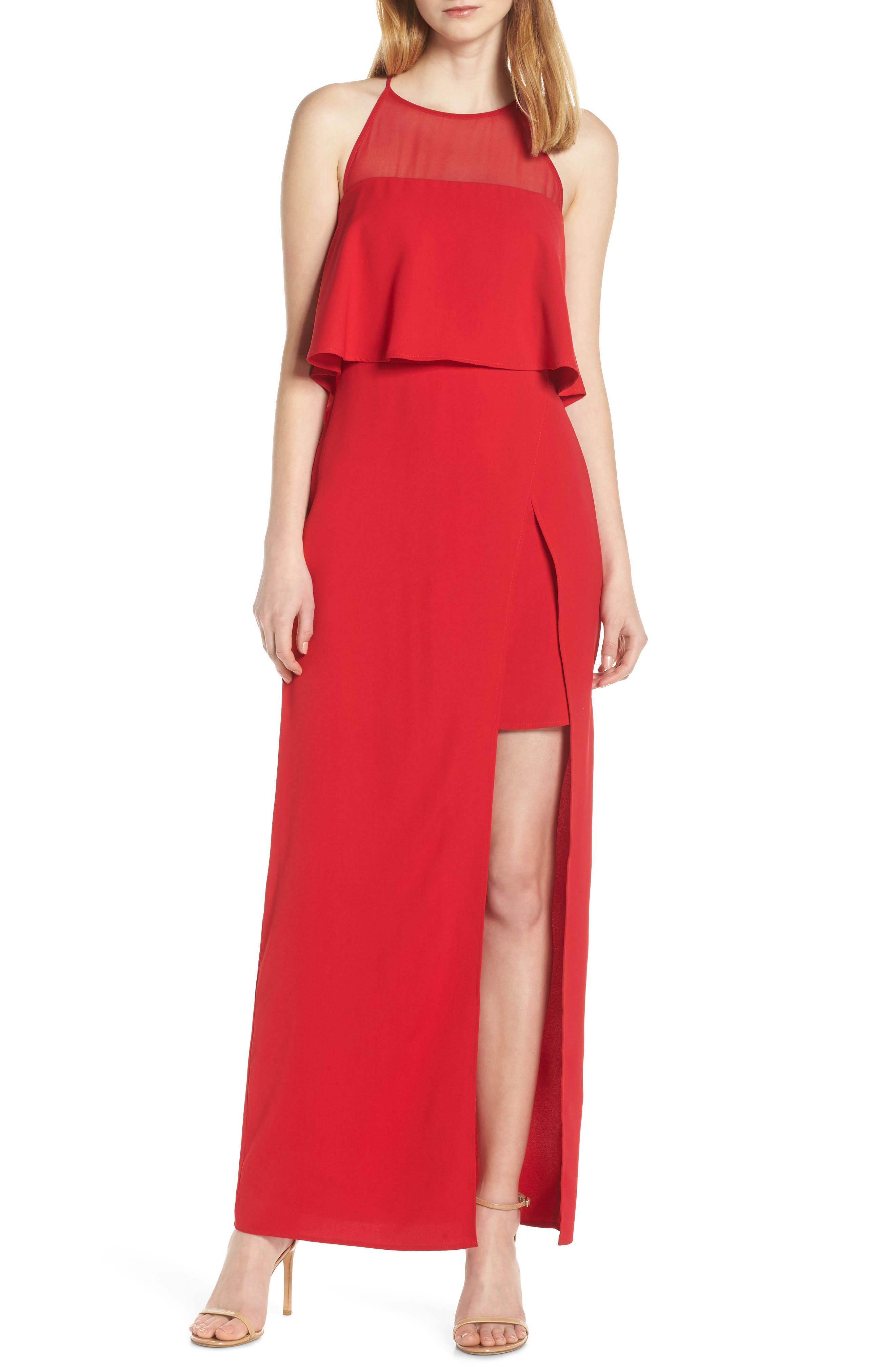 Harlyn Sleeveless Popover Gown, Red