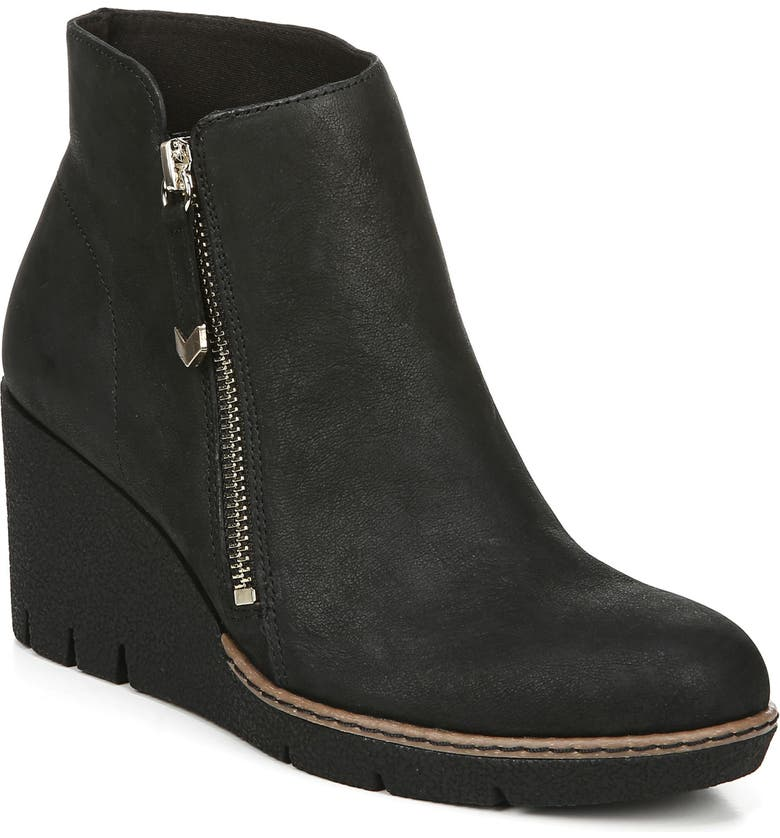 DR. SCHOLL'S Live It Up Wedge Bootie, Main, color, BLACK LEATHER