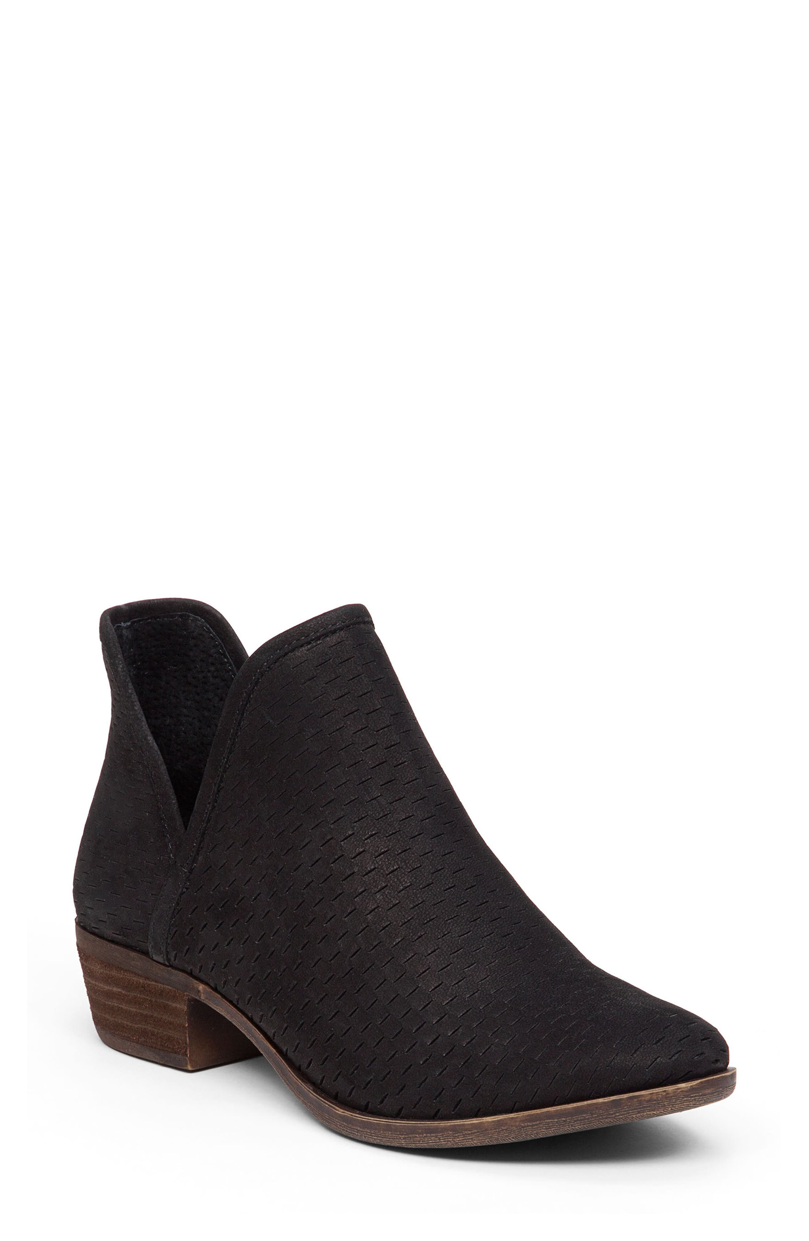 Image of Lucky Brand Baley Perforated Suede Bootie - Wide Width Available