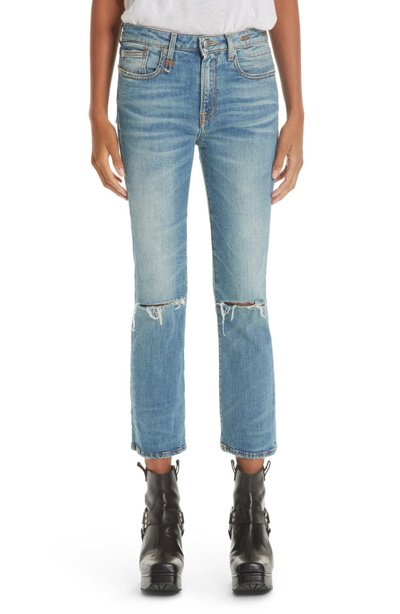 R13 Ripped Kick Fit Jeans, Main, color, 400