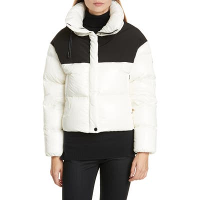 Moncler Nil Colorblock Quilted Down Puffer Jacket, (fits like 8-10 US) - White