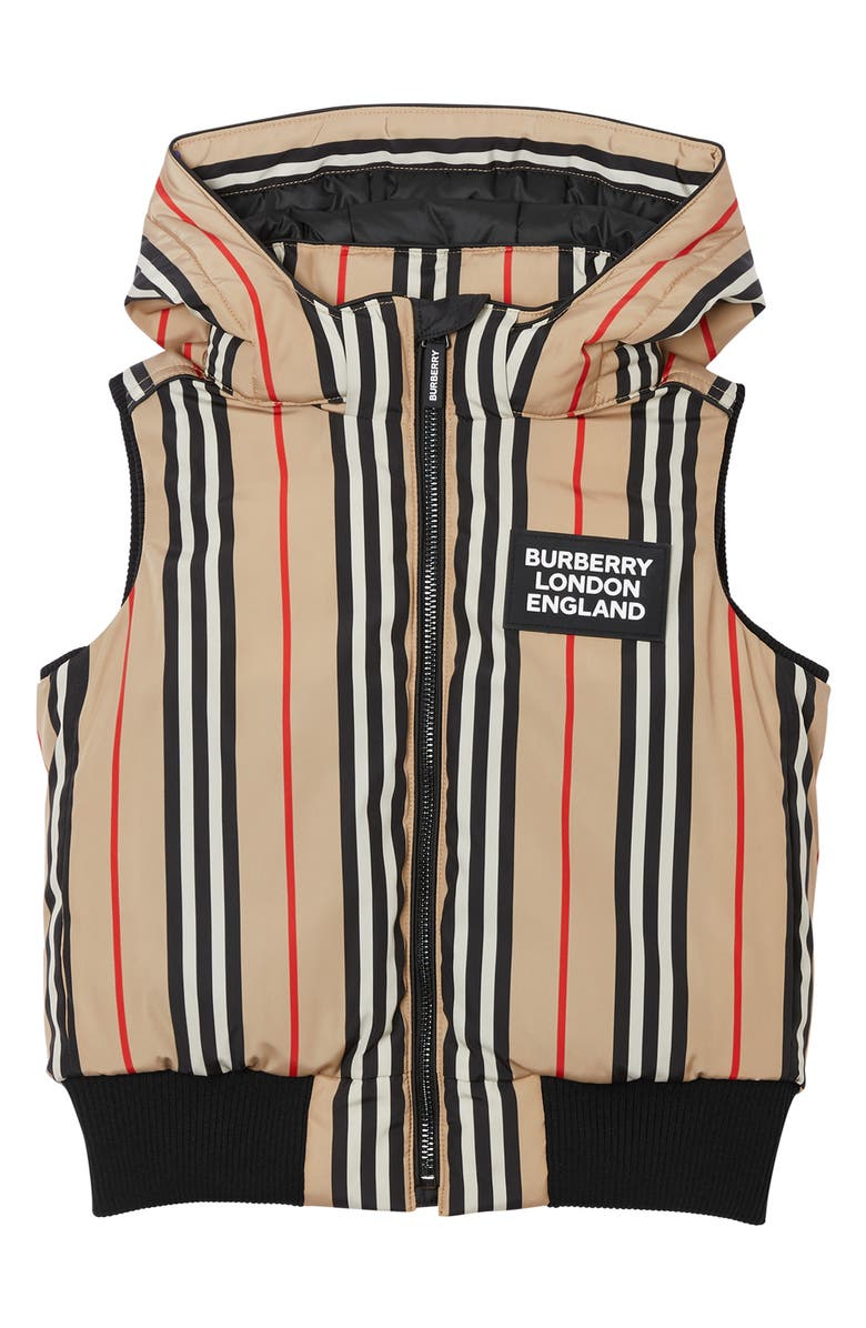 BURBERRY Leroy Stripe Down Hooded Vest, Main, color, 250
