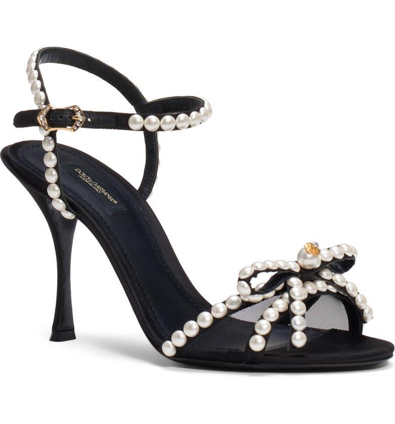 DOLCE&GABBANA Imitation Pearl Quarter Strap Sandal, Main, color, BLACK