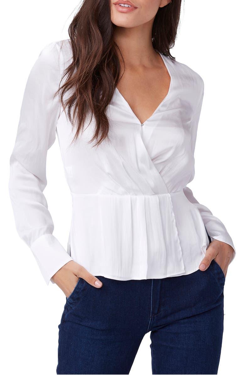 PAIGE Vistah Faux Wrap Blouse, Main, color, WHITE