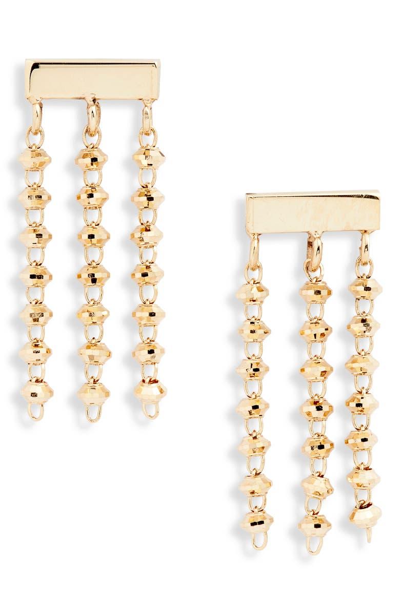 POPPY FINCH Shimmer Baby Tassel Earrings, Main, color, YELLOW GOLD