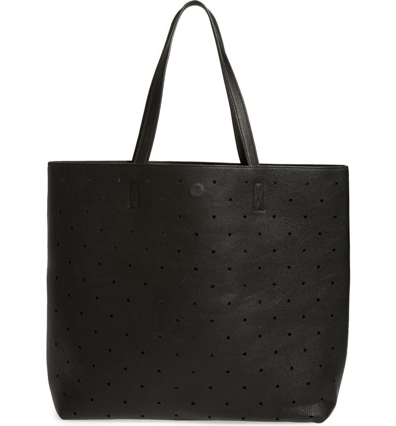 SOLE SOCIETY 'Farrow' Perforated Faux Leather Tote, Main, color, 001