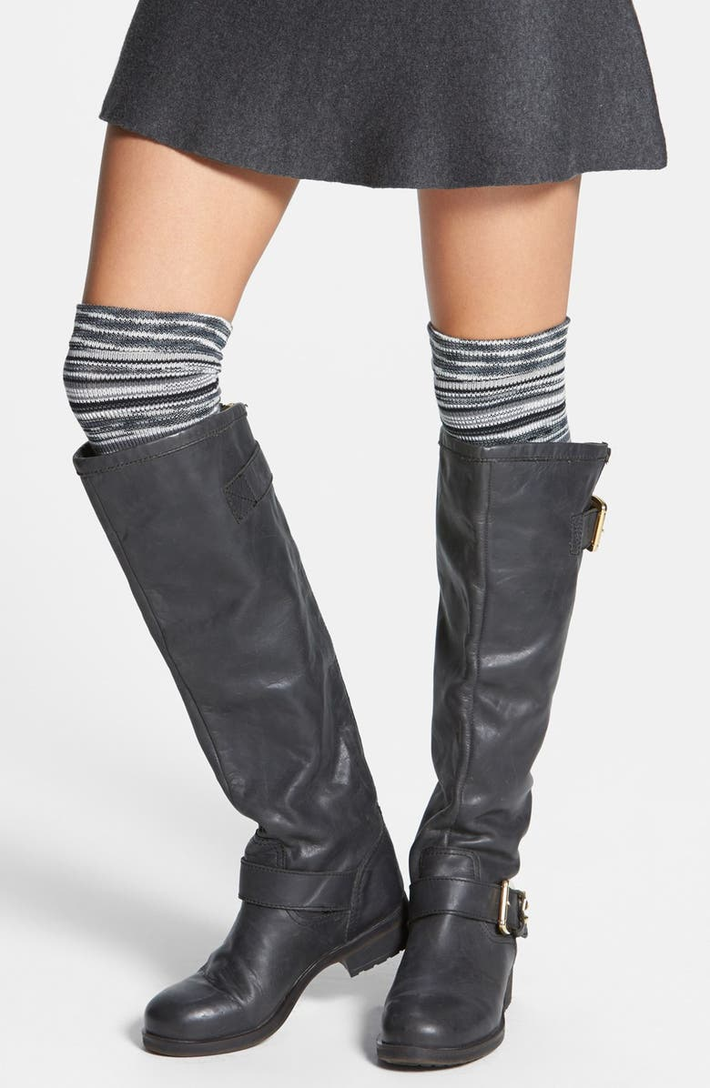 FREE PEOPLE Space Dye Over the Knee Socks, Main, color, BLACK COMBO