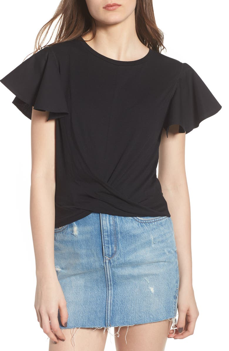 BP. Ruffle Sleeve Twist Hem Tee, Main, color, 001