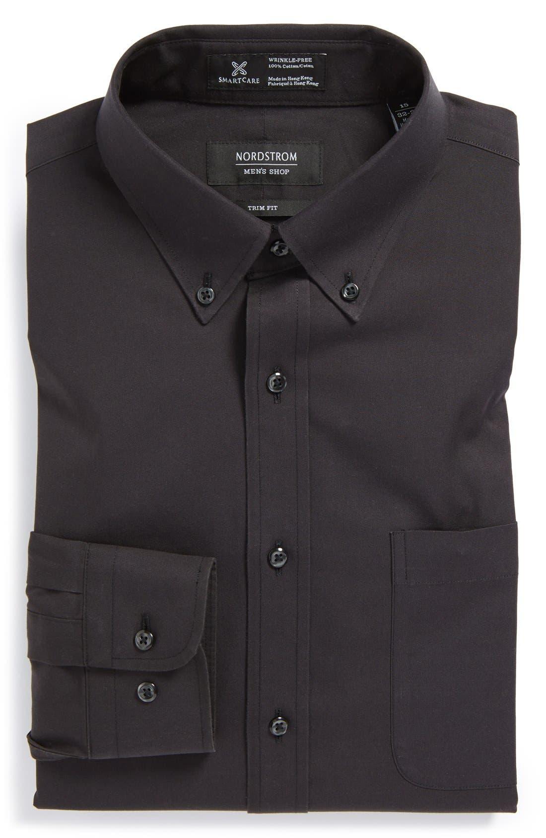 ,                             Smartcare<sup>™</sup> Trim Fit Solid Dress Shirt,                             Main thumbnail 6, color,                             002