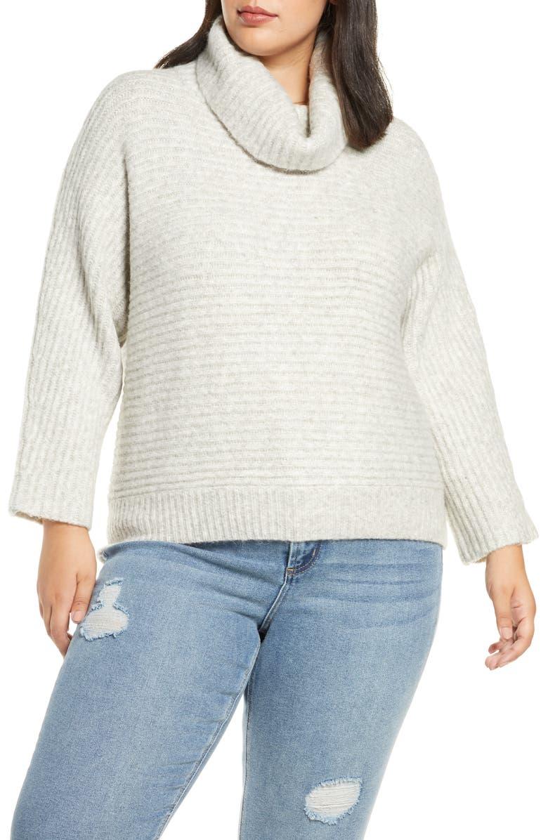 LEITH Cowl Neck Dolman Sleeve Sweater, Main, color, LIGHT GREY HEATHER