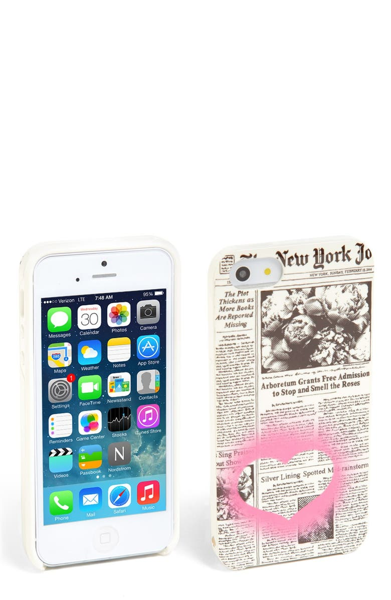KATE SPADE NEW YORK 'newspaper iPhone 5 & 5s case, Main, color, 100