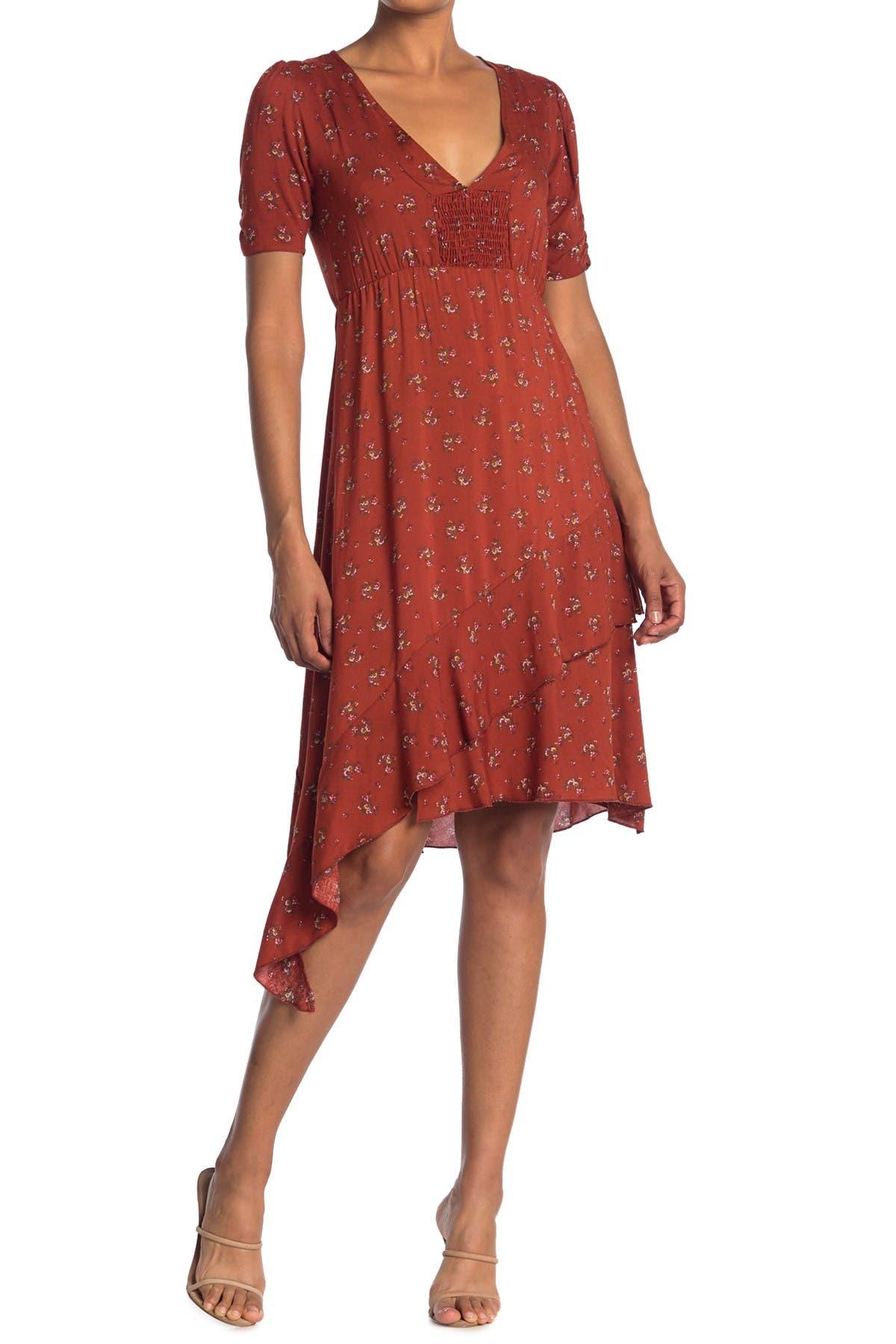 Image of Velvet Torch Smocked Front Side Ruffle V-Neck Midi Dress