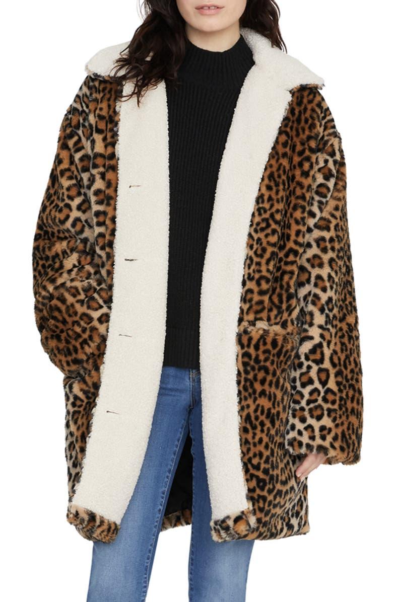 SANCTUARY Sierra Print Faux Fur Coat with Fleece Lining, Main, color, 211