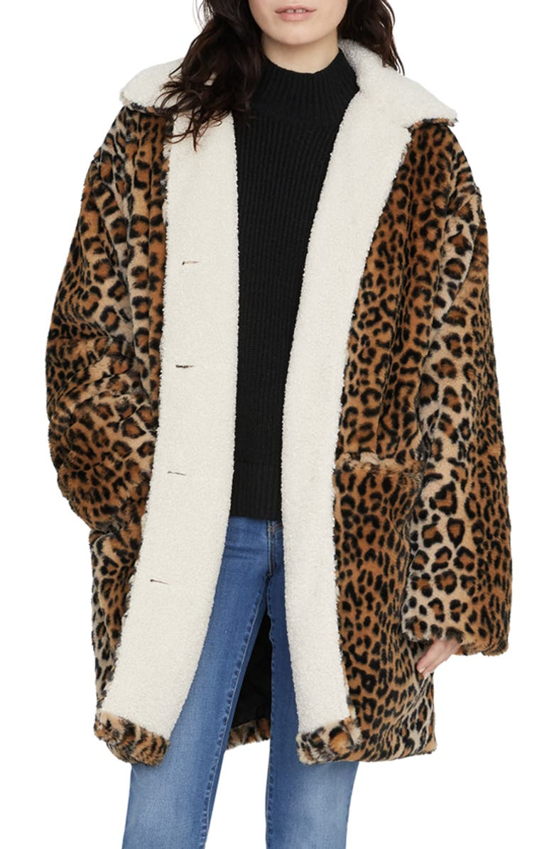 SANCTUARY Sierra Print Faux Fur Coat with Fleece Lining, Main, color, LEOPARD / SHERPA