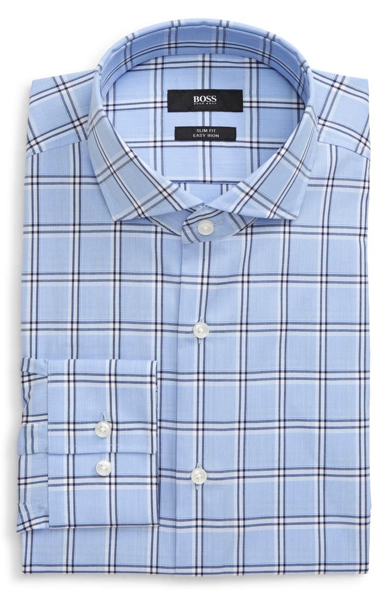 BOSS Slim Fit Easy Iron Plaid Dress Shirt, Main, color, BLUE