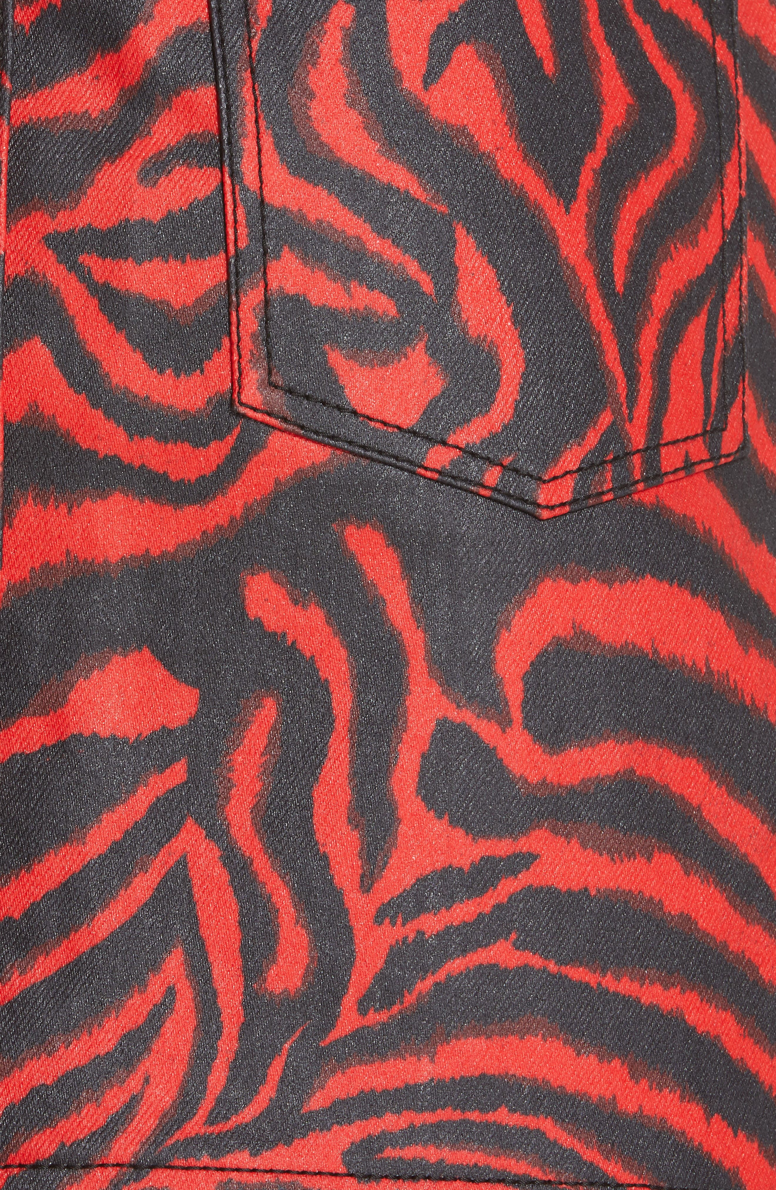 ,                             Zebra Print Denim Skirt,                             Alternate thumbnail 5, color,                             RED ZEBRA