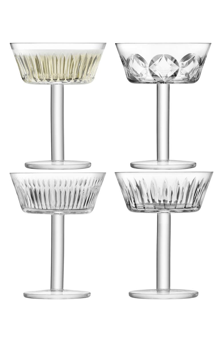 LSA Set of 4 Champagne/Martini Glasses, Main, color, CLEAR
