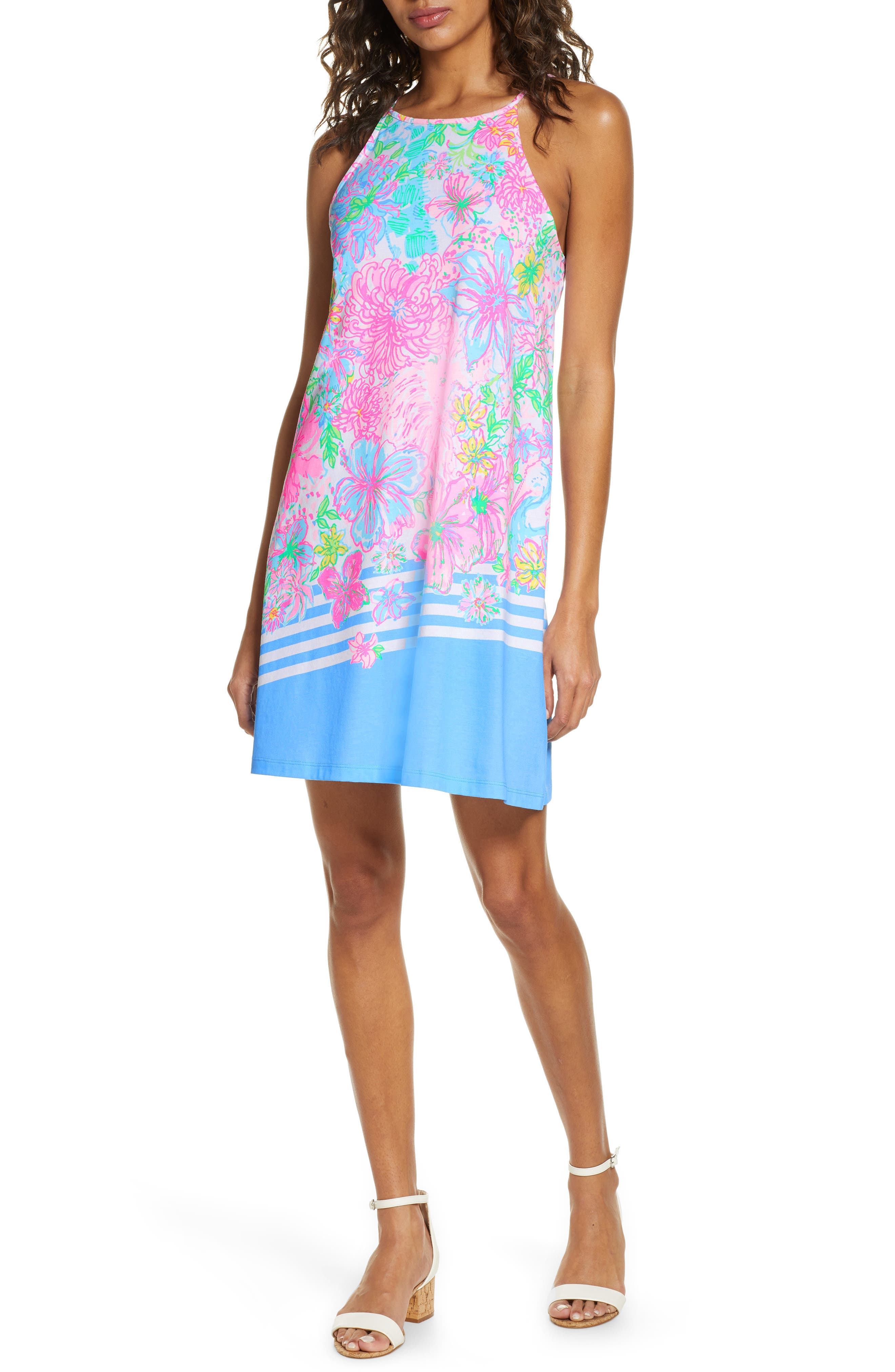 A breezy swing dress perfect for warm-weather adventures is patterned in a bright Lilly Pulitzer watercolor print. Style Name: Lilly Pulitzer Margot Sleeveless Swing Dress. Style Number: 6034281. Available in stores.