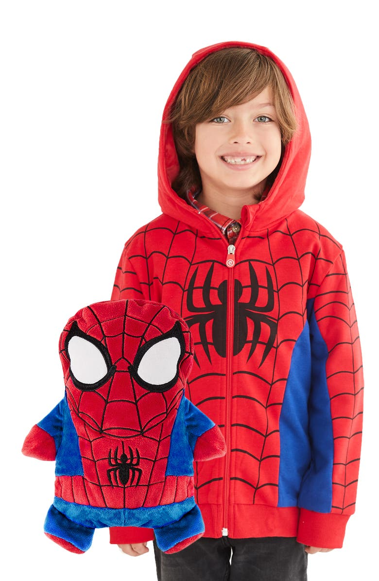 CUBCOATS Marvel<sup>®</sup> 2018 Spiderman Stuffed Animal Hoodie, Main, color, RED MIX