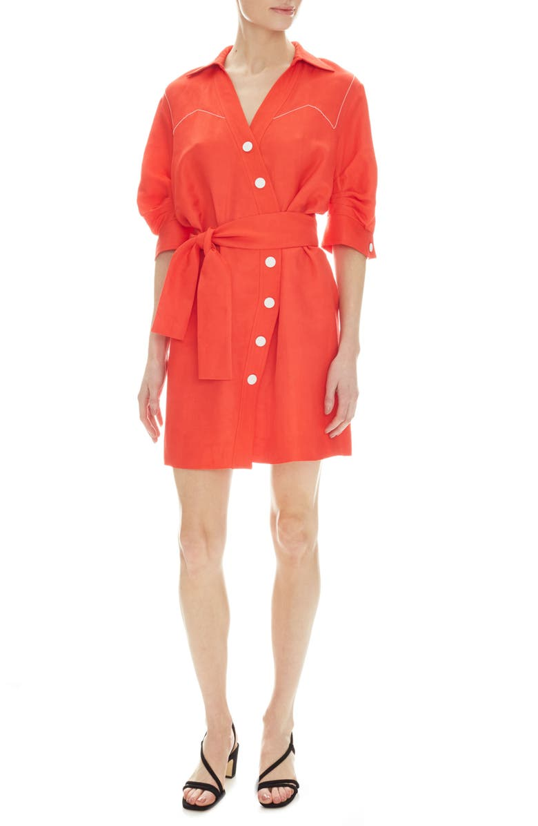 SANDRO Kunga Belted Shirtdress, Main, color, 600