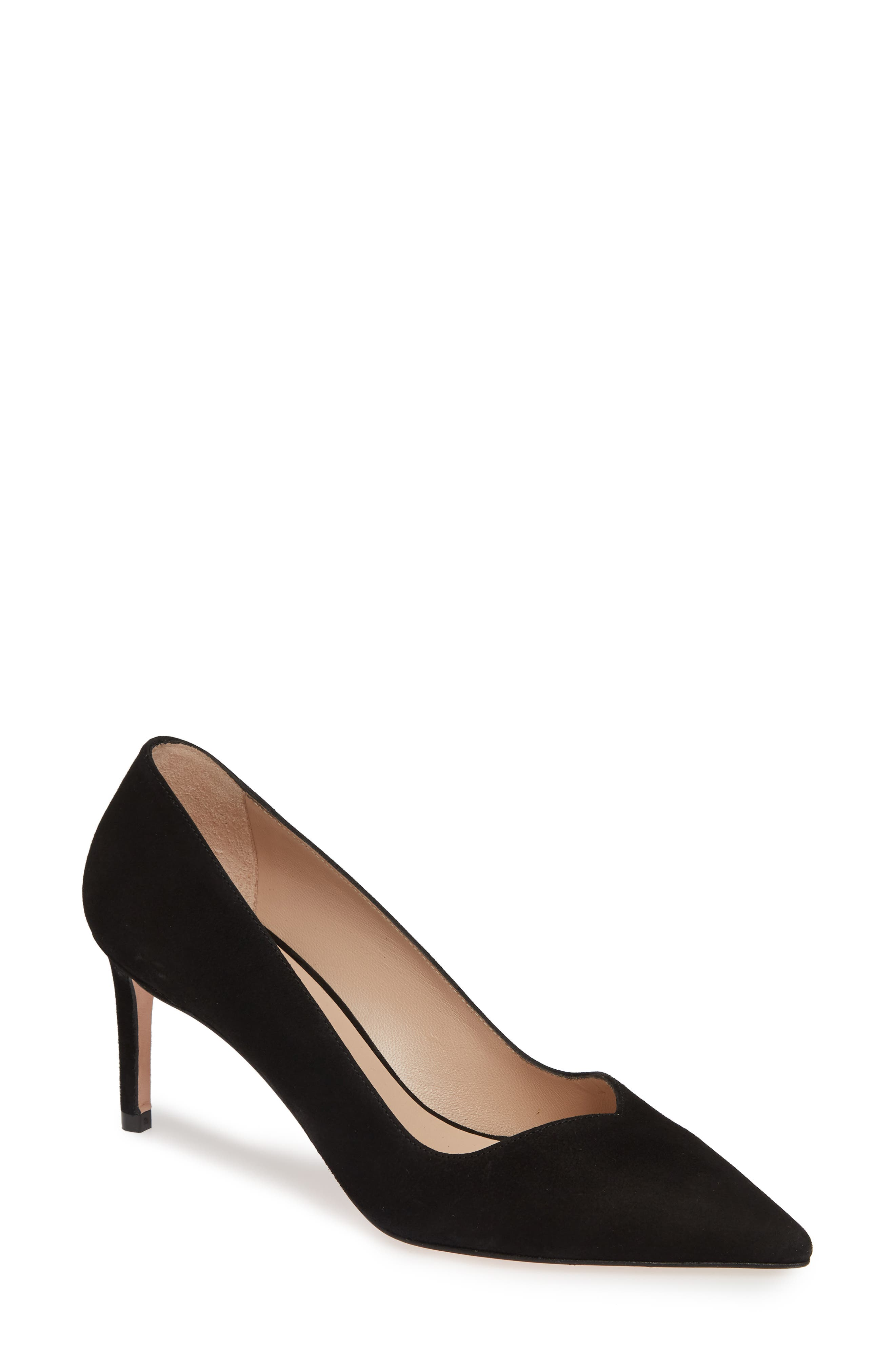 Stuart Weitzman Anny Pointy Toe Pump- Black