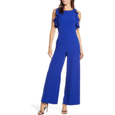 Julia Jordan Crepe Ruffle Trim Wide Leg Jumpsuit, Blue