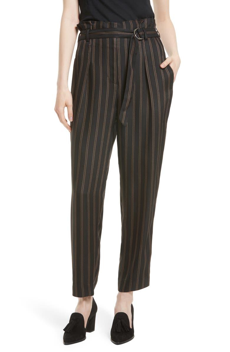 3.1 PHILLIP LIM Belted Pleat Crop Pants, Main, color, 001