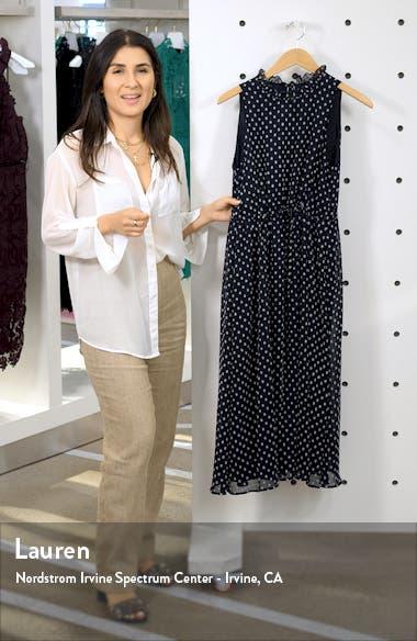 Sleeveless Polka Dot Tie Waist Midi Dress, sales video thumbnail