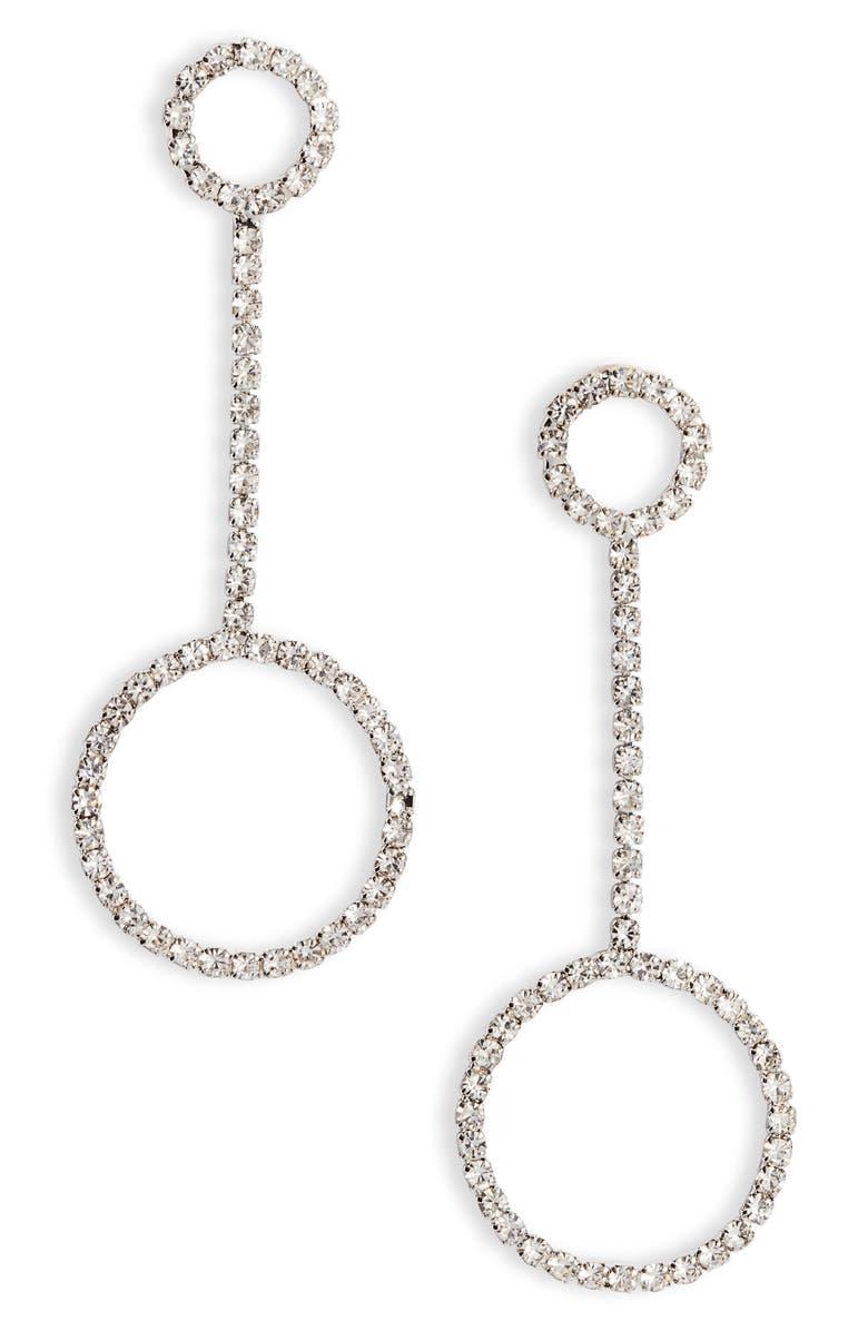 CRISTABELLE Crystal Hoop Linear Drop Earrings, Main, color, CRYSTAL/ SILVER