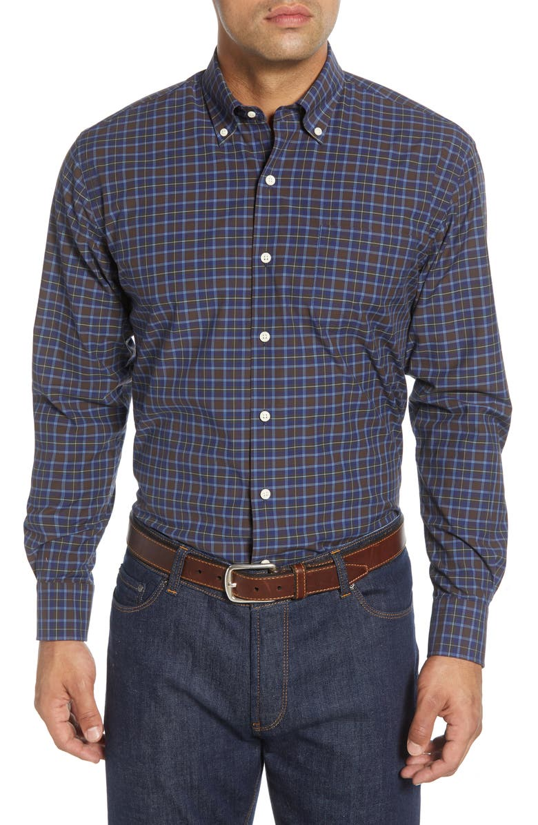 PETER MILLAR Crown Finish Grafton Regular Fit Plaid Button-Down Shirt, Main, color, NAVY